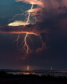 Lightning in the clouds.