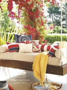 """""""In My Dreams"""" Screen Porches: Hanging Porch Bench.  """"Rock a bye baby on my screen porch. When the wind blows the awesome hanging bench will rock.  When the rope breaks, the awesome hanging porch bench will fall.  And then this injured homeowner will be making an angry call ... to my contractor! #springintothedream"""