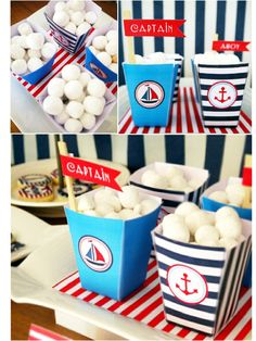 nautical paper plates | preppy nautical party maritime red nautical cake white blue party ...