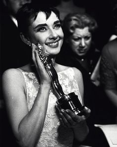 Actress Audrey Hepburn (1929-1993), at the 26th Annual Academy Awards, 1954.