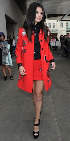 15 Times Selena Gomez Has Stepped Out Looking Really, Really Good - In a Red Skirt Suit  - from InStyle.com