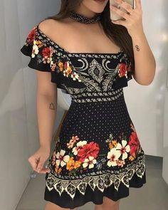 Off Shoulder Floral Print Ruffles Dress – Dresses – Elegant Dresses For Teens, Modest Dresses, Tight Dresses, Simple Dresses, Sexy Dresses, Cute Dresses, Dress Outfits, Casual Dresses, Fashion Dresses