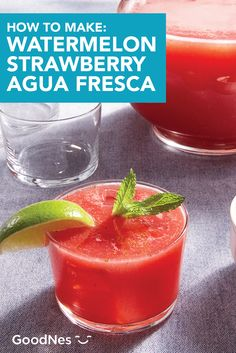 This Watermelon and Strawberry Agua Fresca is a refreshing new way to stay hydrated this summer. Combine NestléⓇ Pure LifeⓇ Purified Water, watermelon, strawberries, mint, and lime juice to create this fun and fruity recipe. Nestle Pure Life, Summer Drink Recipes, Refreshing Summer Drinks, Purified Water, Stay Hydrated, Lime Juice, Strawberries, Watermelon, Beverages