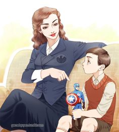 An older Peggy Carter meets young Tony Stark and tells him amazing stories about Captain America. Art by garnetquyen.
