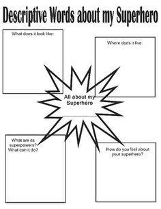 Descriptive writing activities with a superhero theme! Part of a whole set of activities, so easy and FUN! Superhero Writing, Superhero School, Superhero Classroom Theme, Classroom Themes, Superhero Party, Descriptive Writing Activities, Teaching Writing, Paragraph Writing, Narrative Writing