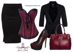 Outfit con corsé rojo, falda de tubo, blazer y complementos a juego.