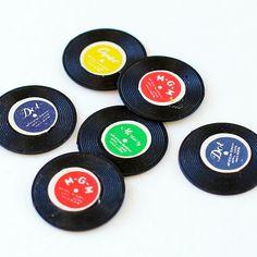 12 Vintage Miniature Record Charms Plastic 70s by CrankyCakesShop