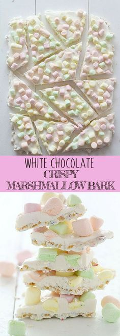 WHITE CHOCOLATE CRISPY MARSHMALLOW BARK   Love chocolate bark recipes? You'll definitely love this easy dessert recipe for winter! All you need are quality white chocolates, colored mini marshmallows and some sprinkles.