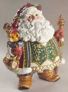 *SANTA LARGE FITZ AND FLOYD JOLLY OLE ST. NICK ~  COOKIE JAR CENTERPIECE NEW IN BOX