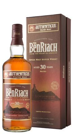 """Ben Riach 30 year old Authenticus Peated Malt Whisky.  Released in November 207, this bottling marks the oldest peated expression from BenRiach to date.  Authenticus is BenRiach's heavily-peated line of whiskies.  The peat used here hails from northeast Scotland where the peat includes """"ancient  trees, heather, and bracken"""".  This is a densely peated Speyside Single Malt dating back to the 1980's."""
