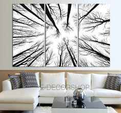 Large Wall Art Canvas Prints - Dry Tree Branches Wall Art - Forest Canvas Art Print - Framed Crisp Prints