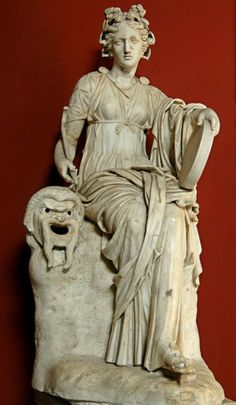 Statue of Muse Thalia - Roman period work, marble, circa 2nd AD, at the Vatican Museums, Rome
