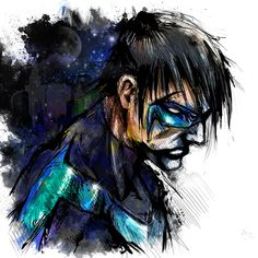 Nightwing (major props to the artist - wish this was labeled with Artist's name but it wasn't so props unknown artist)