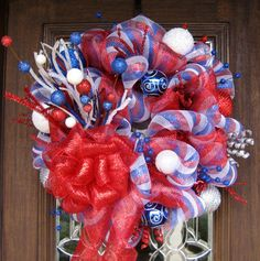 Deco Mesh RED WHITE and BLUE Patriotic Fireworks by decoglitz