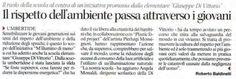 """Corriere dell'Umbria. La """"Di Vittorio"""" con Plastic Food Project UUD a sostegno dell'iniziativa """"M'illumino di meno"""" per diffondere la consapevolezza del non spreco @caterpillarrai @RaiRadio2 #MilluminoDiMeno #caterpillarrai"""