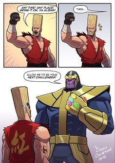 """Someone seems to have accepted Paul's challenge for the title of the """"Toughest of the Universe"""". Bring It On, Ya Aliens! Marvel Jokes, Marvel Funny, Funny Comics, Dark Humour Memes, Dc Memes, Humor, Marvel Dc, Nerd Jokes, Funny Comic Strips"""