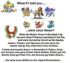 Raikou, Entei, and Suicune as Jolteon, Flareon, and Vaporeon. Pokemon Theory, Pokemon Facts, Pokemon Memes, Pokemon Funny, Cool Pokemon, Kalos Pokemon, Mega Pokemon, Pokemon Pins, Play Pokemon
