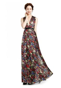 TRISS MAXI DRESS  in ENGLISH FLORAL ALL OVER by Alice + Olivia