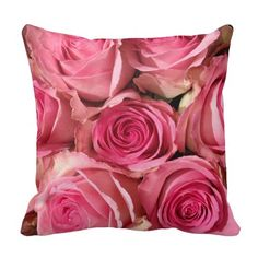 Pink Roses Flower Throw Pillow. Designed by Golden Hour Photos $31.95