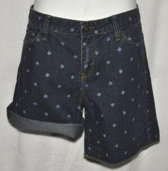 Ann Taylor Loft Denim Shorts with Star Design Original Fit Sz 8 NWT
