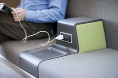 Power integrated into furniture helps individuals stay connected in the waiting room.