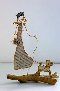 La dame au petit chien - figurines en ficelle et papier : Accessoires de maison par ficelleetpapier