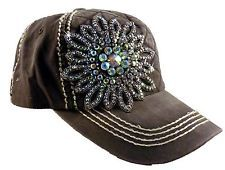 Olive and Pique Super Bling Ball Cap! Rhinestone Beaded Flower, Quilted Front