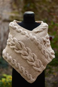 Knitted Poncho For Women. Lady Shoulder Warmer For Her Fashion Accessories - 1 - Knit Vest Pattern, Poncho Knitting Patterns, Knitting Blogs, Knitting Designs, Baby Knitting, Crochet Hooded Scarf, Knitted Poncho, Knit Crochet, Thick Wool Yarn