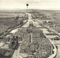 "This is a detail of Jules Arnout's view of Paris and the Ile de la Cite in 1845. Note the balloon looking down on Notre Dame and the Louvre. This is sold as a set with two other Arnout views of Paris. Size: Each 13"" x 17.5"". Price: $85.00 a set."