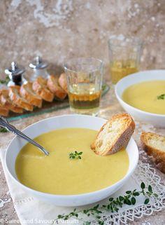 Creamy Leek and Potato Soup with Garlic Parmesan Crostini via @ssp4