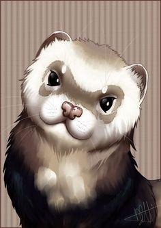 Ferret Portrait by Sylfaenn on DeviantArt