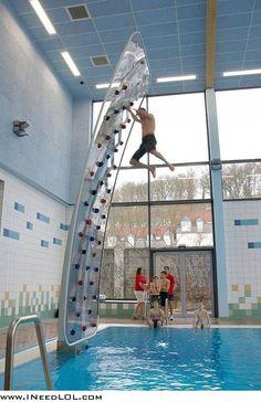 Epic pool rock climb