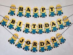 Despicable Me Minion Birthday Banner by MarianelasCrafts on Etsy Minion Centerpieces, Minion Party Decorations, Diy Birthday Decorations, Wild One Birthday Party, Dad Birthday, First Birthday Parties, Minion Birthday Banner, Minion Theme, Birthday Banners