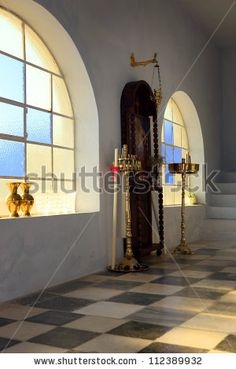 Interior of a Greek orthodox church, Santorini, Greece