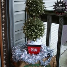 #holiday centerpiece topiary from thrift store finds