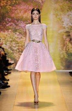 Zuhair Murad - Pink silk and tulle dress with python print embroidery