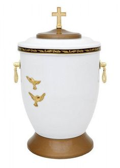 Beautiful White Metal Cremation Urn for Ashes - Gold Cross Funeral Urn For Adult - unique.urns_caskets