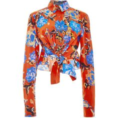 Monique Lhuillier Painted Rose Front Tie Button Up Blouse ($1,095) ❤ liked on Polyvore