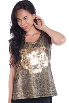 Metallic Tiger Sleeveless Top - Gold from Very J at Lucky 21