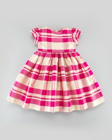 Girls Plaid Party Dress, Hot Pink, 18M-2T