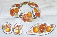 Ruth Buol Modernist Signed Fused Glass, Enamel  Copper Jewelry Set