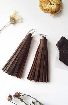 Leather tassel earri