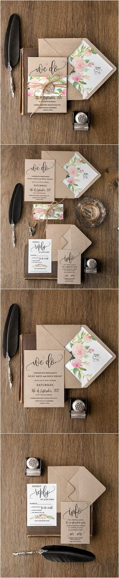 Rustic country kraft paper wedding invitations #rusticwedding #countrywedding #weddingcards #weddingideas