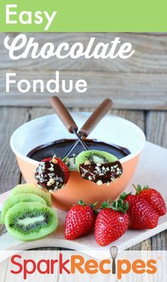 90-Calorie Chocolate Fondue. Thought this was delicious. Got major points from the dear bf for making this for him last night. Since he follows a Gluten-free, Casein-free diet I substitued coconut milk, which worked out beautifully! | via @SparkPeople #ValentinesDay #dessert #chocolate #fondue #nomnomnom