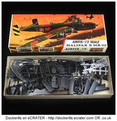 Airfix Halifax B MK 111. Vintage Type 3 / Red Stripe Box Kit. 1/72 Scale. Produced c. 1963-1973. #Airfix