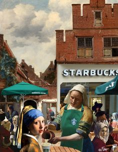 """pearl earrings """"Girl with Pearl Earring and Extra Foam"""". Girl With Pearl Earring, Appropriation Art, Classical Art Memes, Art Jokes, Photocollage, Arte Pop, Funny Art, Surreal Art, Collage Art"""