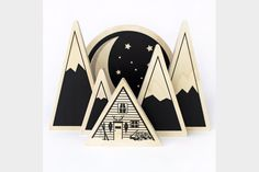 All 6 blocks are double sided. One side is a woodsy, summer cabin scene with the sun shining bright, and the other is a little mountain chalet at night, with a crescent moon and big dipper in the back ground! And of course, you can mix and match the pieces however you want.