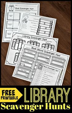 FREE Printable Library Scavenger Hunts - help kids learn about and explore their library with these free printable worksheets. Lean about book genre, authors, elements of the library, and the dewey decimal system. Perfect for kindergarten, first grad School Library Lessons, Library Lesson Plans, Elementary School Library, Library Skills, Kindergarten Library Lessons, Class Library, Elementary Math, Library Games, Reading Library