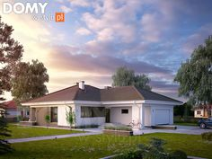 Projekt domu Kiwi 4 on Behance Building Design, Building A House, Modern Bungalow House, New House Plans, Home Deco, Future House, Interior And Exterior, New Homes, Cottage