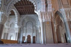Hassan II Mosque, Casablanca, Morocco. The largest mosque in Morocco, it was designed by Michael Pinseau. It can house 105,000 people at once, with 25,000 able to be in the actual central mosque area itself.